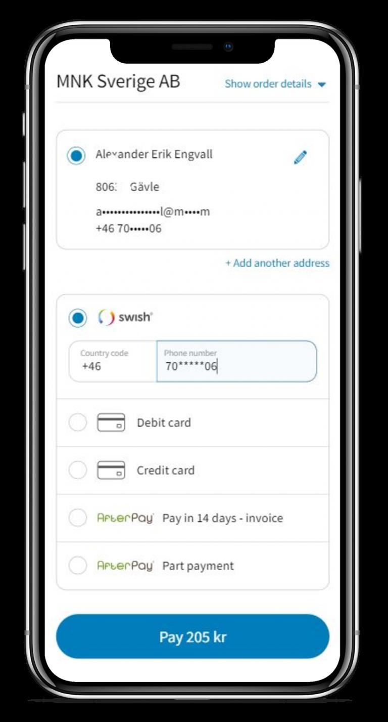 Enkel betalning genom Swish, Kort eller faktura