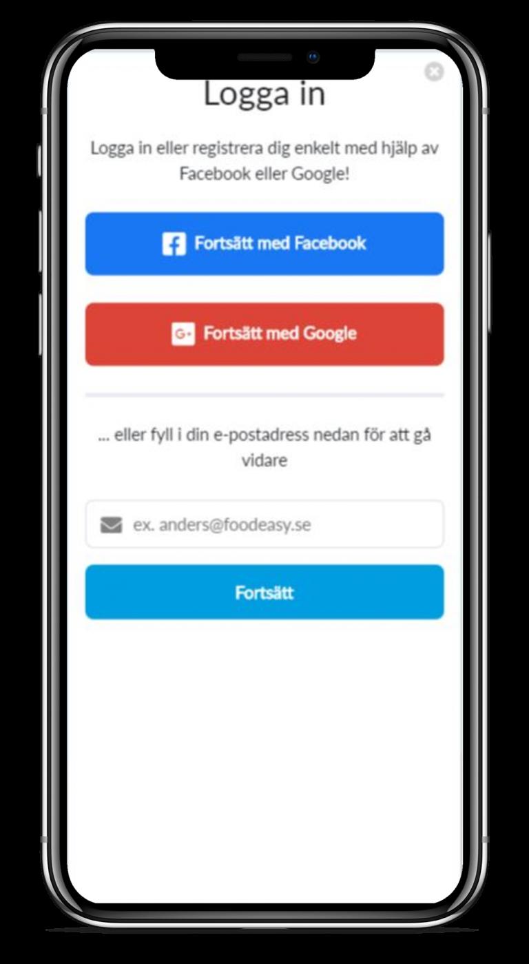 Enkel inloggning genom Facebook eller Google